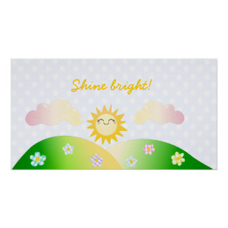 Cute sun kawaii cartoon poster