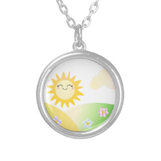 Cute sun kawaii cartoon silver plated necklace