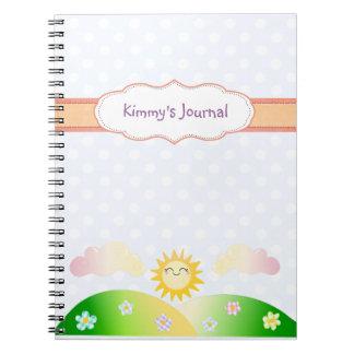 Cute sun kawaii cartoon spiral notebook