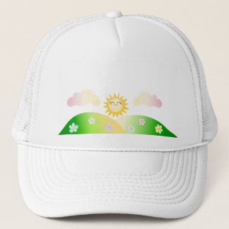 Cute sun kawaii cartoon trucker hat