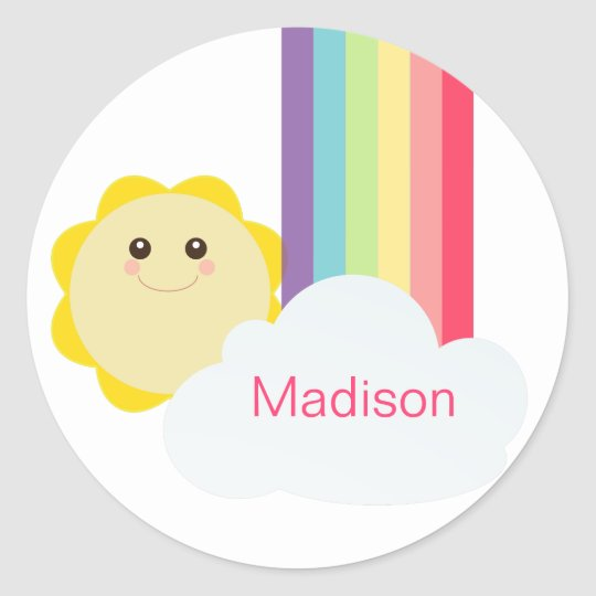 Cute Sun & Rainbow Cupcake Toppers/Stickers Classic Round