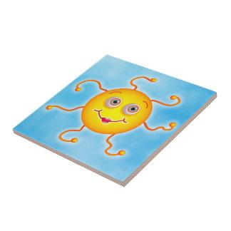 Cute Sun Small Square Tile