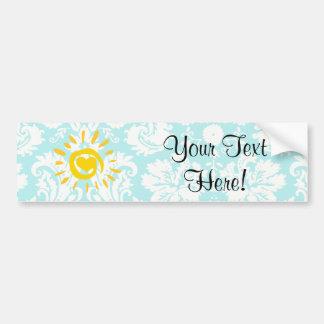 Cute Sun; Teal Damask Bumper Stickers