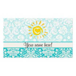 Cute Sun; Teal Damask Business Card