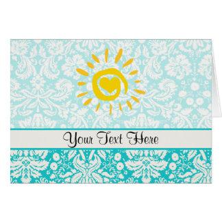 Cute Sun; Teal Damask Card
