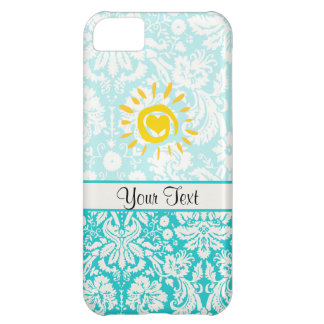 Cute Sun; Teal Damask Case For iPhone 5C