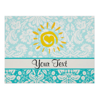 Cute Sun; Teal Damask Poster