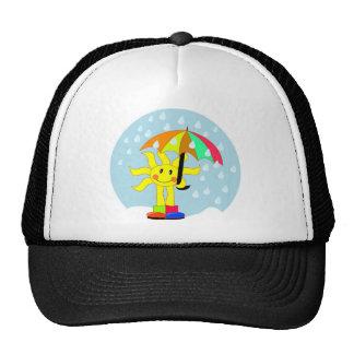 Cute Sun under umbrella during rain Hat