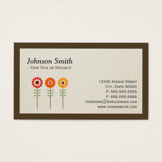Cute Sunflowers - Modern Stylish Business Card