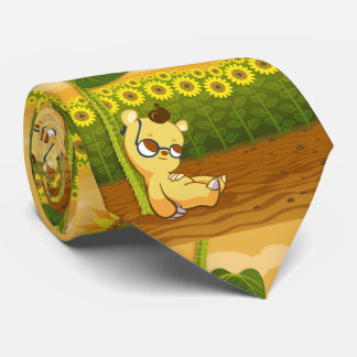 Cute Sunny Cartoon Sunflowers and Bear Tie