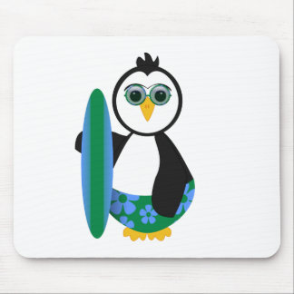Cute Sunny Surfer Penguin Mouse Pad