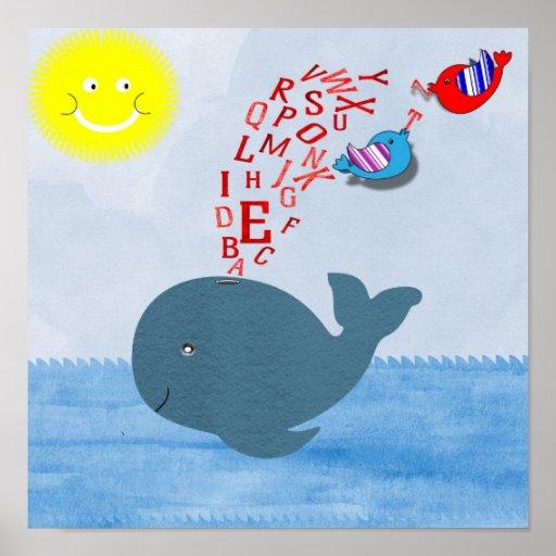 Cute Sunshine Alphabet Whale Baby Nursery Print
