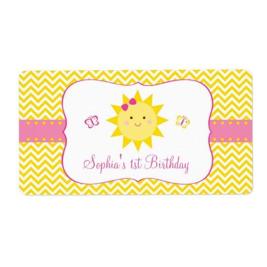 Cute Sunshine Birthday Favour Shipping Label