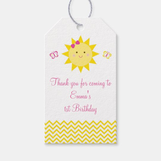 Cute Sunshine Birthday Party Favour Gift Tags