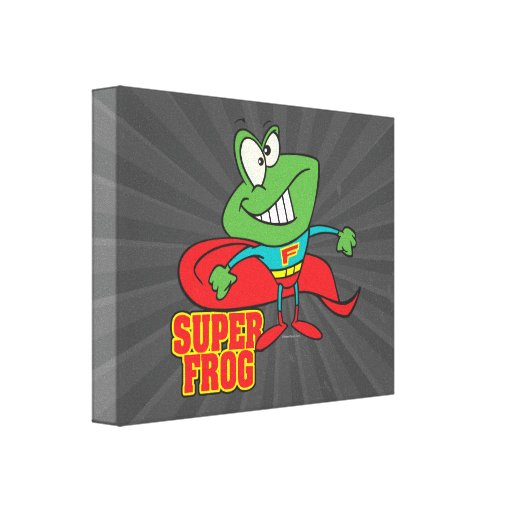 cute super frog superhero cartoon stretched canvas print