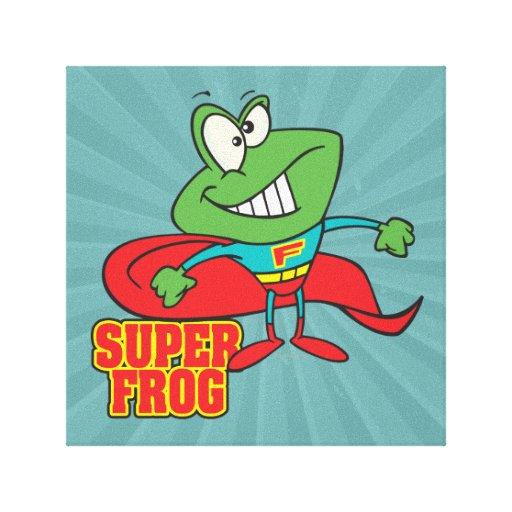 cute super frog superhero cartoon stretched canvas prints