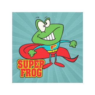 cute super frog superhero cartoon canvas print