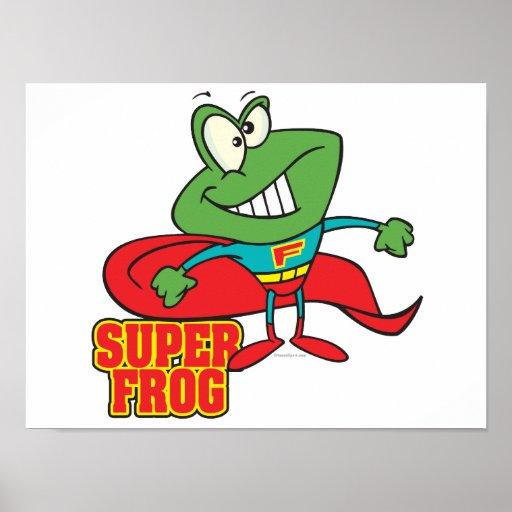 cute super frog superhero cartoon poster