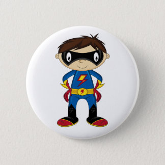 Cute Superhero Boy 6 Cm Round Badge