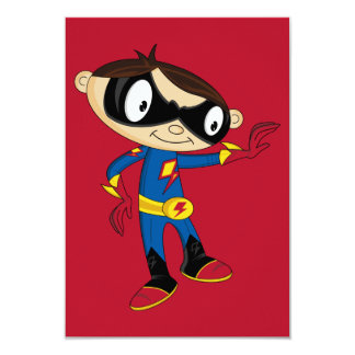 Cute Superhero Boy 9 Cm X 13 Cm Invitation Card