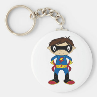 Cute Superhero Boy Basic Round Button Key Ring