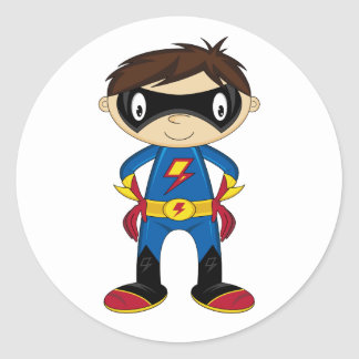 Cute Superhero Boy Classic Round Sticker