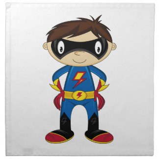 Cute Superhero Boy Printed Napkin