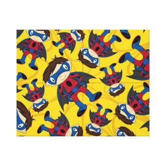 Cute Superhero Boy Pattern Canvas Prints