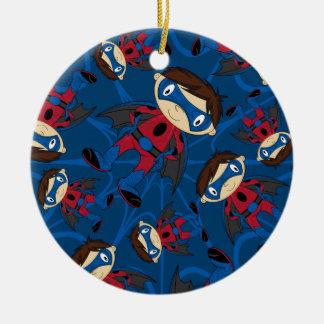 Cute Superhero Boy Pattern Christmas Ornament