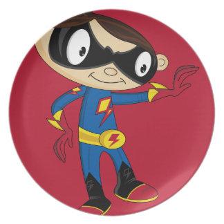Cute Superhero Boy Party Plate