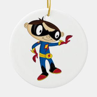 Cute Superhero Boy Round Ceramic Decoration