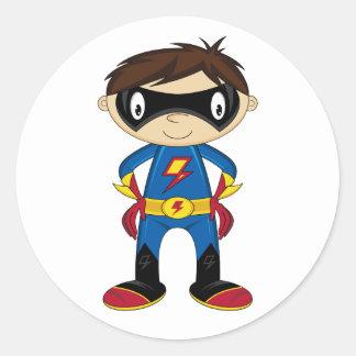 Cute Superhero Boy Round Sticker