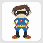 Cute Superhero Boy Square Sticker