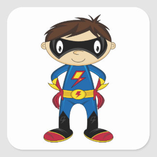 Cute Superhero Boy Square Sticker
