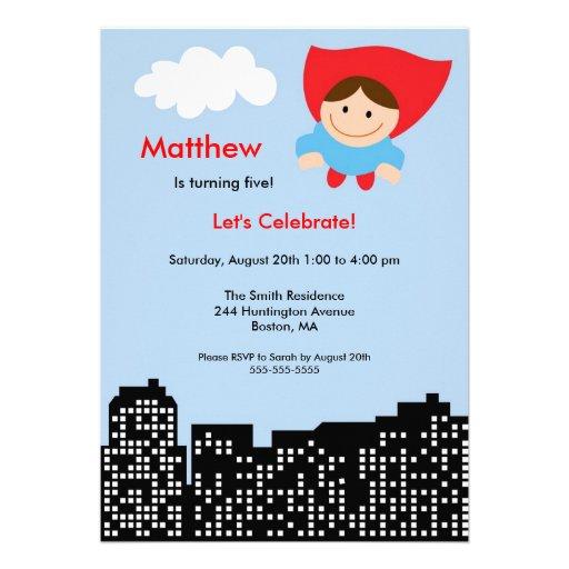 CUTE Superhero Boys Birthday Party Invitation