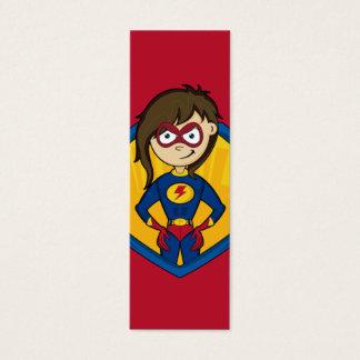 Cute Superhero Girl Bookmark Mini Business Card