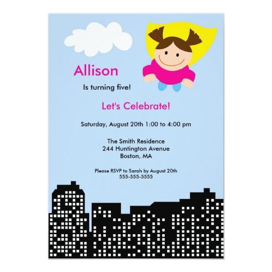 CUTE Superhero Girls Birthday Party Invitation