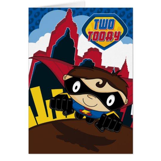 Cute Superhero in City Scene Birthday Card