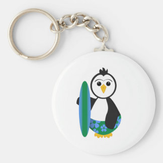Cute Surfer Penguin Basic Round Button Key Ring