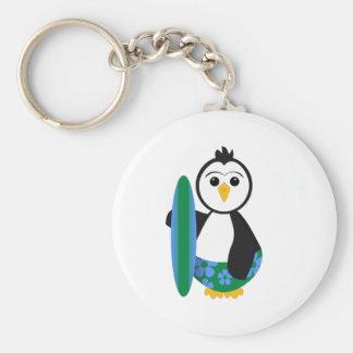 Cute Surfer Penguin Keychain