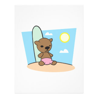 cute surfer teddy bear flyer design