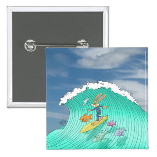 Cute surfing Rabbit, on a square badge. 15 Cm Square Badge