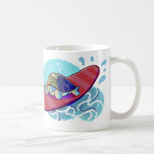 Cute Surfing Turtle Coffee Mug