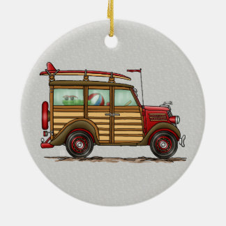 Cute Surfing Woody Christmas Ornament