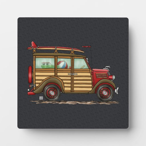 Cute Surfing Woody Photo Plaques