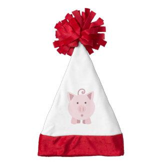 Cute Surprised Pig Santa Hat