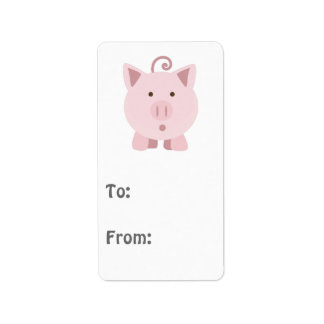 Cute Surprised Pig Address Label
