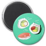 Cute Sushi Cat 6 Cm Round Magnet