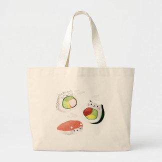 Cute Sushi Cat Large Tote Bag