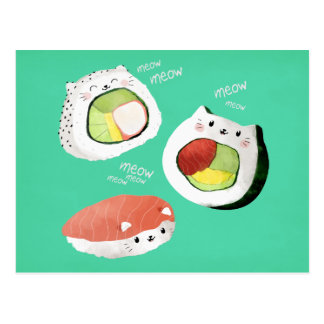 Cute Sushi Cat Postcard